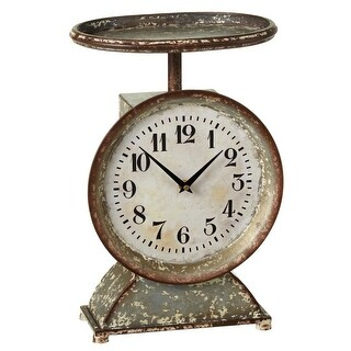 32 Rustic Distressed Galvanized Metal Decorative Scale Desk Clock