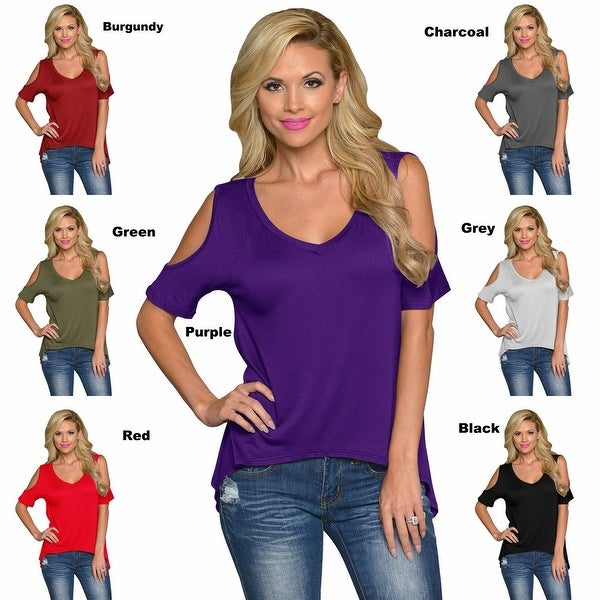 Women Casual Off the Shoulder Short Sleeve Loose Jersey Tunic Top