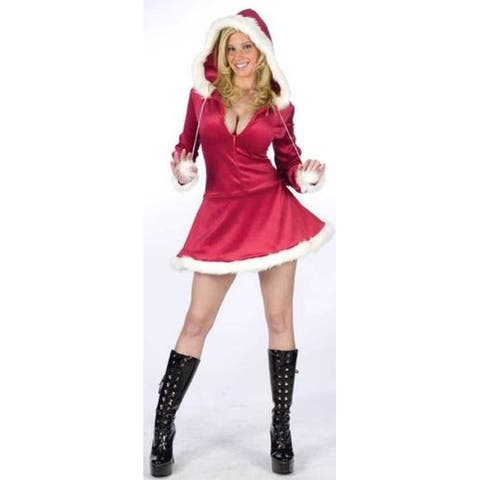 Red and White Mrs Claus Hooded Women Christmas Costume - Small