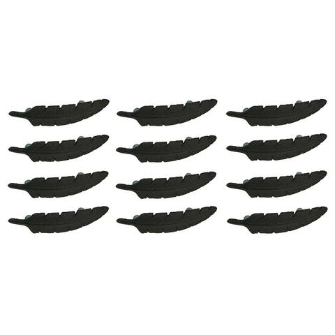 Brown Cast Iron Feather Drawer Handle Cabinet Pull Furniture Decor Set of 12 - 1.25 X 6.5 X 2.5 inches