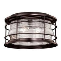 Vaxcel Lighting T0166 Hyannis 2 Light Flush Mount Outdoor Ceiling Fixture with Clear Ribbed Glass Shade - 12.63 Inches Wide
