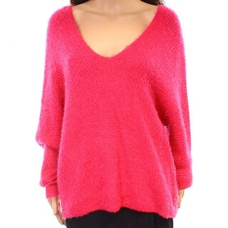 Woven Heart NEW Pink Womens Size Large L Fuzzy V-Neck Pullover Sweater