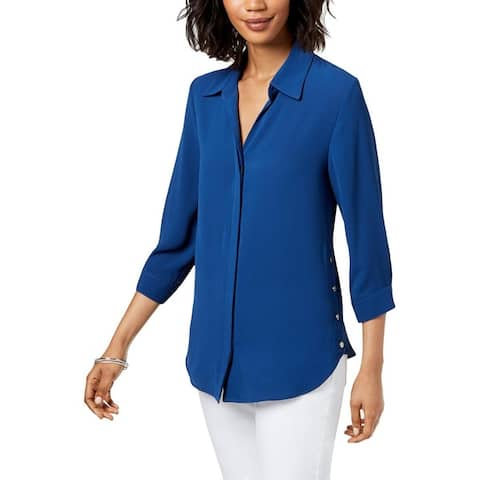 NY Collection Womens Petites Button-Down Top Solid Three-Quarter Sleeves - PM