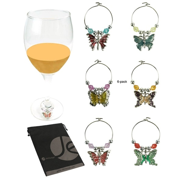 JAVOedge (Set of 6) Wine Glass Charms Drink Markers Tags in Elegant Butterfly Design Charms - Assorted Colors