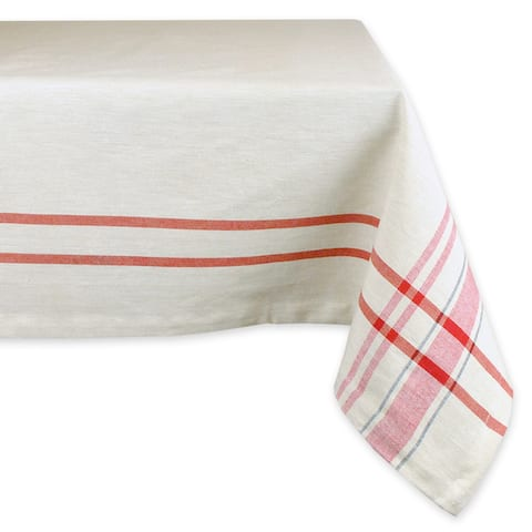 "Ivory and Red French Striped Design Rectangular Tablecloth 84"" x 60"" - N/A"