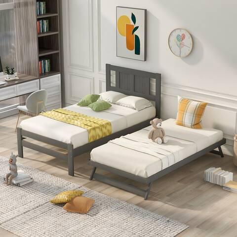 Nestfair Twin Size Platform Bed with Adjustable Trundle