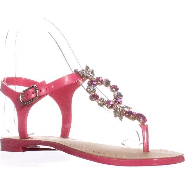 Ivanka Trump Adoren Jeweled T-Strap Flat Sandals, Light Pink - 7 us
