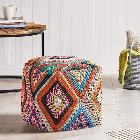 Calera Handcrafted Boho Fabric Cube Pouf by Christopher Knight Home
