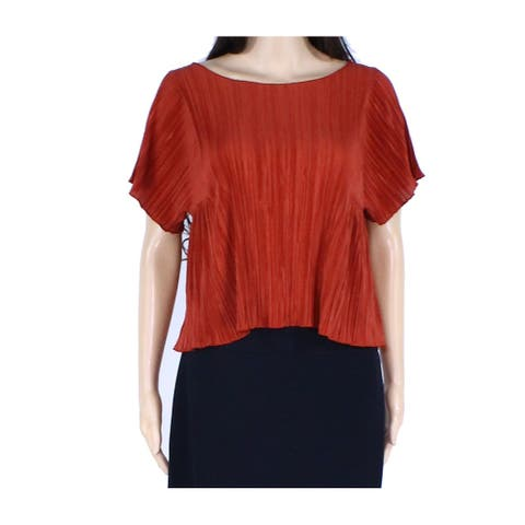 Madewell Womens Top Orange Size XS Pleated Scoop Neck Short Sleeve