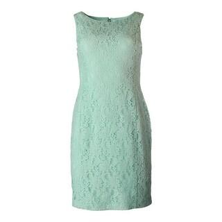 Lauren Ralph Lauren Womens Petites Lace Sleeveless Casual Dress