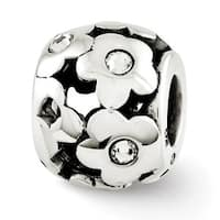 Sterling Silver Reflections Swarovski Elements Flowers Bead (4mm Diameter Hole)