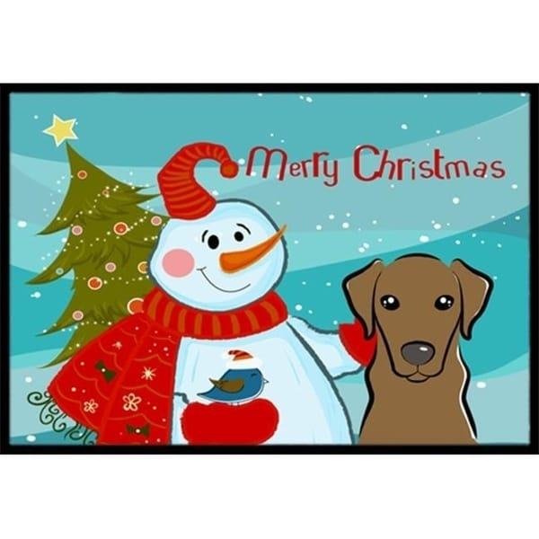 Carolines Treasures BB1854MAT Snowman With Chocolate Labrador Indoor & Outdoor Mat 18 x 27 in.