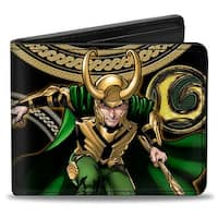 Marvel Universe Loki Poses Black Gold Green Bi Fold Wallet - One Size Fits most