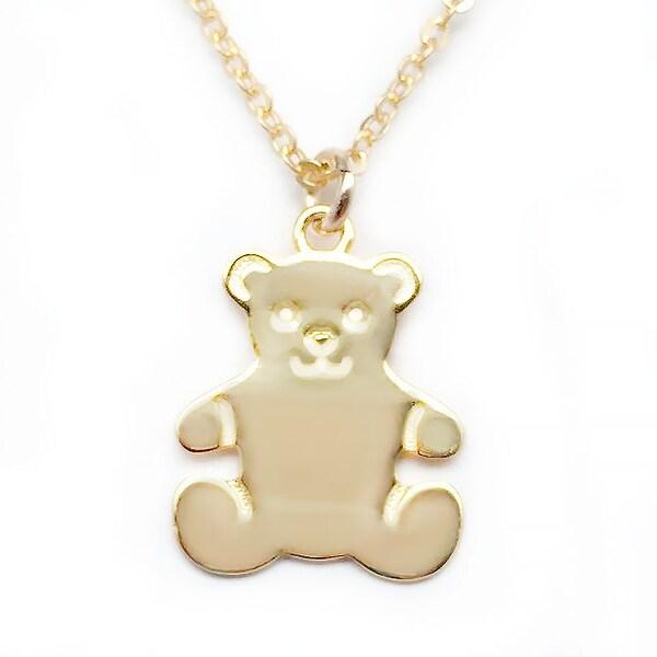 """Julieta Jewelry Teddy Bear Gold Charm 16"""" Necklace"""