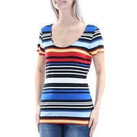 VINCE CAMUTO Womens Blue Cut Out Striped Short Sleeve Scoop Neck Top  Size: S