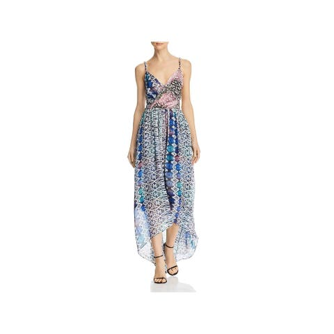 Ramy Brook Womens Fatima Maxi Dress Printed Surplice - Blue