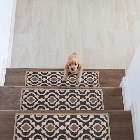 Modern Moroccan Trellis 26-inch Non-slip Nylon Stair Treads