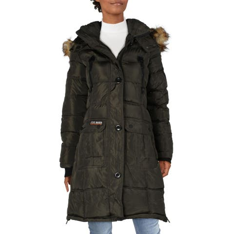Steve Madden Womens Puffer Coat Faux Fur Heavyweight