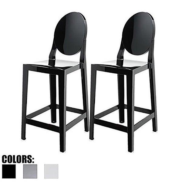 Shop 2xhome Set Of 2 Black Modern 25 Seat Bar Stool Counter Height