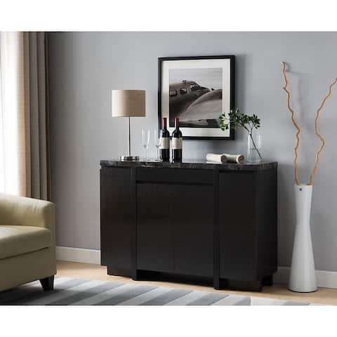 Q-Max Two-Toned Faux Marble Top Sideboard Cabinet, Dining Server Cupboard Buffet Table with Three Cabinets and One Drawer