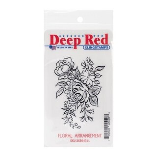 Deep Red Stamps Floral Arrangement Rubber Cling Stamp - 2 x 3
