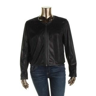 Robert Rodriguez Womens Faux Leather Trim Zip Front Casual Blazer - L