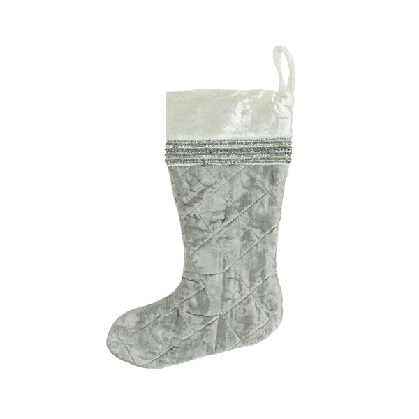"""17"""" Cream and Silver Quilted Velveteen Sequin Embellished Decorative Christmas Stocking"""