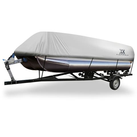 Gray 17-20ft 300D Boat Cover Waterproof Trailerable for Square Shape Boats - Grey - Fit Length:17-20ft,Beam Width: 96""