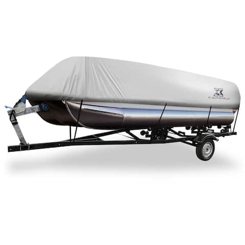 Gray 21-24ft 300D Boat Cover Waterproof Trailerable for Square Shape Boats - Grey - Fit Length:21-24ft,Beam Width: 102""