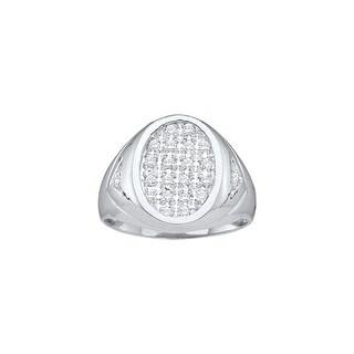 1/4Ctw Diamond Men'S Cluster Ring White-Gold 10K