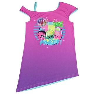 Shopkins Girls Disco Party Glow In The Dark Off-The-Shoulder Sleep Shirt