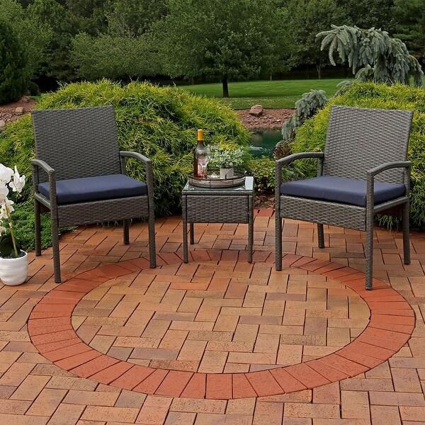 Sunnydaze Bita 3-Piece Wicker Rattan Patio Furniture Set with Dark Blue Cushions