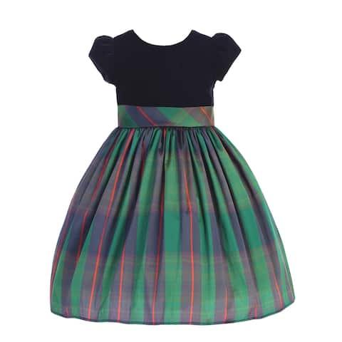 Lito Little Girls Black Velvet Blue Green Plaid Sash Christmas Dress