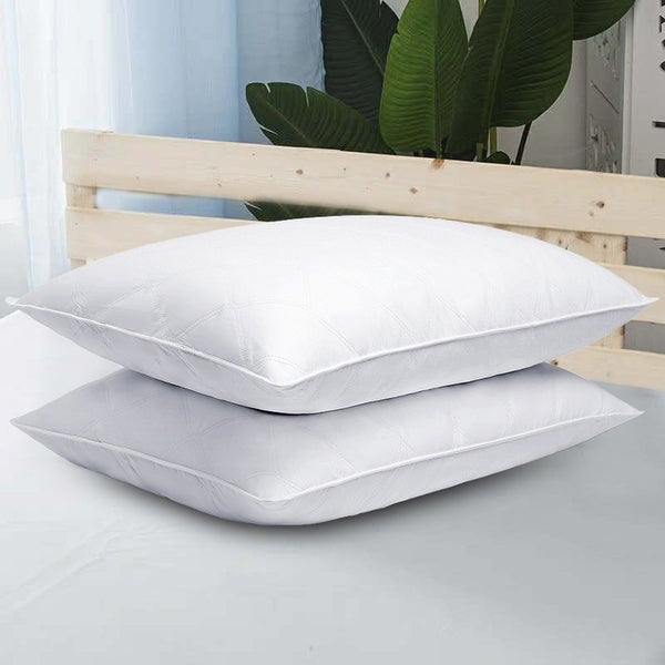 2 Pack Goose Down Quilted Firm Bed Pillows for Side & Back Sleepers - White. Opens flyout.