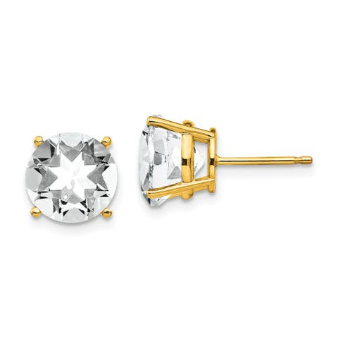 14K Yellow Gold 10mm Cubic Zirconia Earrngs By Versil