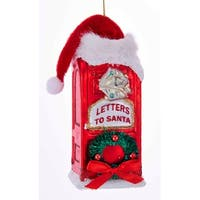 Kurt Adler Letters to Santa Red Mailbox with Santa Hat Glass  Holiday Ornament