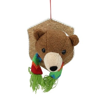 "Link to 5"" Brown and Beige Stuffed Bear Head Plaque Christmas Ornament - N/A Similar Items in Christmas Decorations"