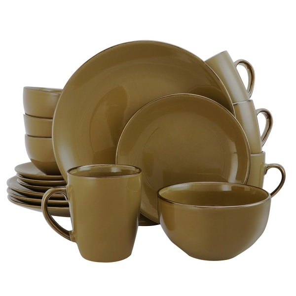 Elama Bristol Grand 16-Piece Dinnerware Set, Warm Taupe. Opens flyout.