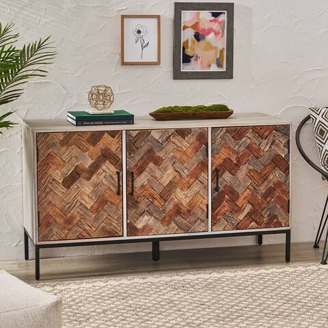 """Siloam Boho Handcrafted 3 Door Cabinet by Christopher Knight Home - 55.00"""" W x 17.70"""" D x 30.70"""" H"""