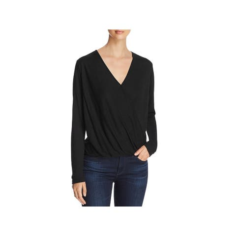 Elan Womens Blouse Tencel Faux Wrap