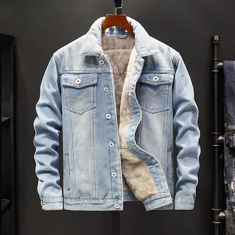Korean Style Men's Plush Thick Denim Jacket