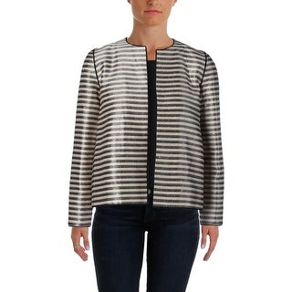 Lafayette 148 Womens Petites Jacket Striped Long Sleeves - p