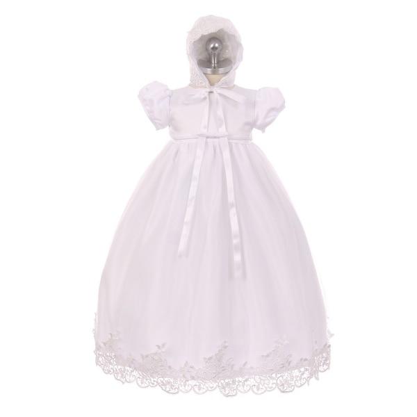 Rain Kids Baby Girls White Lace Satin Tulle Overlay Bonnet Baptism Dress