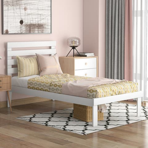 AOOLIVE Pine Wood Twin Size Platform Bed with Headboard, White