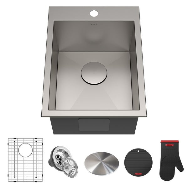 KRAUS Pax Stainless Steel 15 inch 1-Bowl Drop-in Kitchen Sink. Opens flyout.