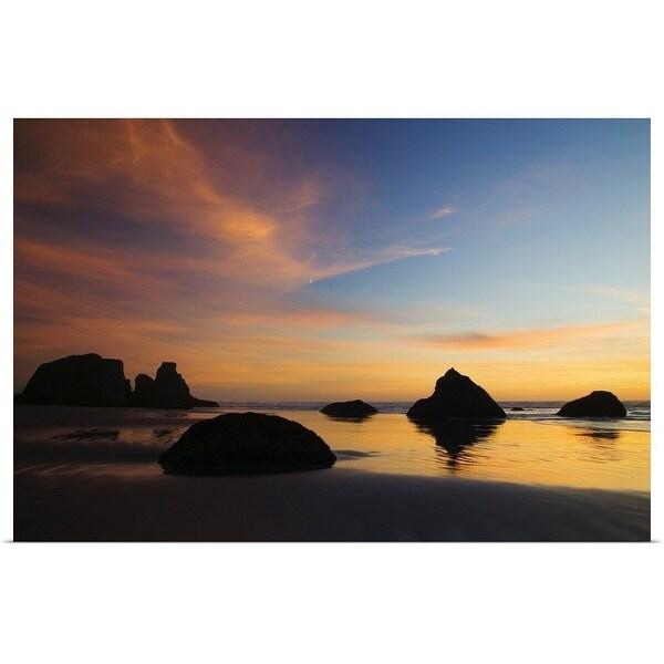 """Sunset sky, silhouetted sea stacks on Bandon Beach, Bandon Beach State Park, Oregon"" Poster Print"
