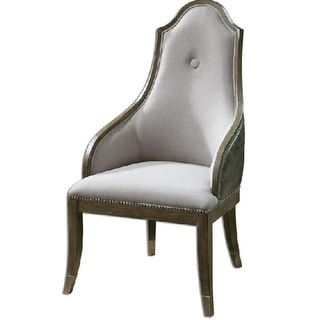"44.75"" Unique Natural Linen w/ Nickel Studs Gray Washed Pine Accent Chair"