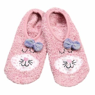 Women's Pink Cat Fuzzy Slipper Socks - One Size Fits Most
