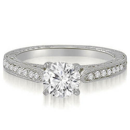 1.35 cttw. 14K White Gold Antique Milgrain Round Diamond Engagement Ring