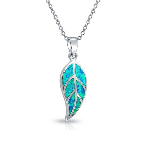 Nature Leaf Leaves Pendant Blue Created Opal Inlay Necklace For Women 925 Sterling Silver October Birthstone With Chain